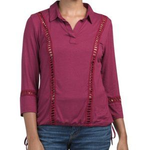 NWOT FREE SHIPPING Lng Sleeve Collared Knit Top